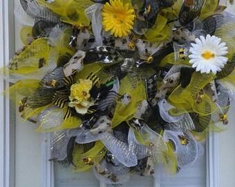 Bee Mesh Door Wreath