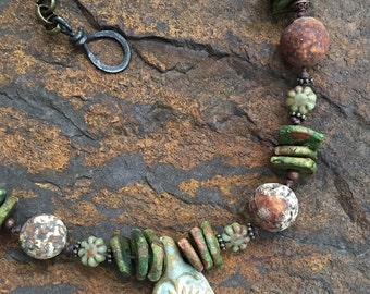Primitive Rustic Necklace Tribal Necklace Boho Agate Necklace