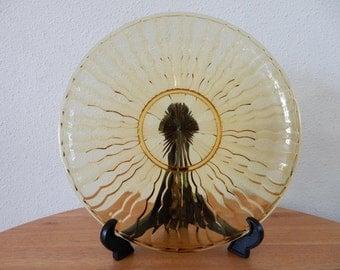 Glass bowl yellow/brown