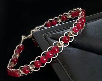 Natural Ruby and Swarovski Crystal Sterling Silver Bracelet