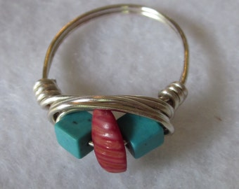 Sterling Silver Turquoise and Coral Wire Wrapped Ring size 7