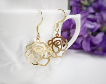 Rose dangle earring, gold rose, clip on, silver rose, everyday wear, flower earrings, nature