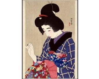 Japanese Woman - Japanese Beauty Print - Sewing Print - Vintage Beauty Print - Japanese Vintage - Woodcut Print - Ukiyo-e - Digital Download