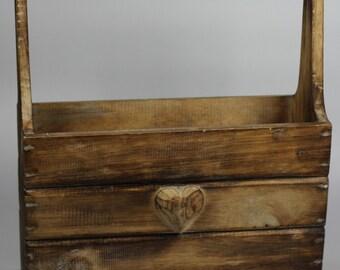 Handmade Shabby Chic Large Wooden Magazine Rack