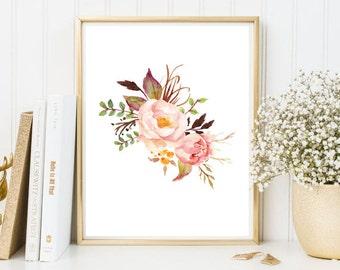 peony watercolor print, watercolor flowers, floral watercolor, art print, wall art print, printable, floral print, watercolor poster