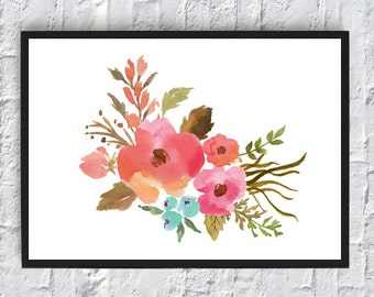 watercolor print, watercolor flowers, floral watercolor, art print, wall art print, printable, floral print, watercolor poster