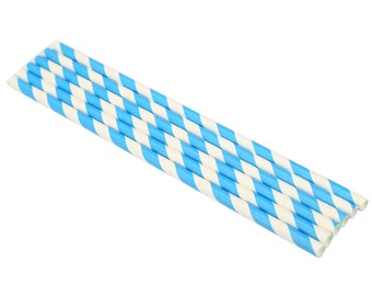 25 Colourful Blue Paper Drinking Straws