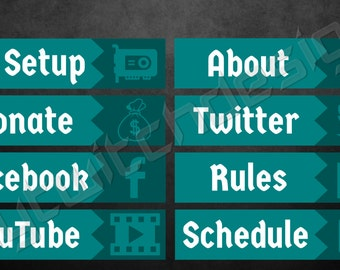 "MyTwitchDesign ""Two-Toned"" Teal Panels Set Of 8 {custom twitch tv channel website graphics panels layout design overlay wallpaper}"