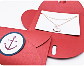 Chain anchor ROSÉGOLD, RED anchor packing, gift idea, Anchor love