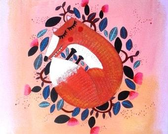 Sleepy little Fox painting on canvas original painting gouache 25x25cm