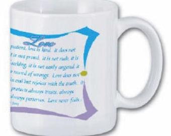 Love mug   reminder  of Gods love for us verses