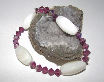 White Onyx Bracelet with Purple Glass Beads