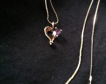 Amethyst Heart Necklace  # 229