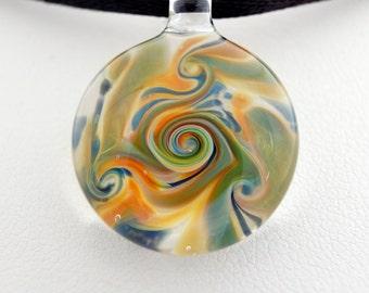 Glass jewelry necklace, hand blown glass pendant necklace, glass pendant, unique pendant for her