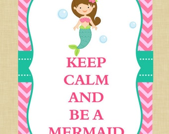 Mermaid Keep Calm Wall Art