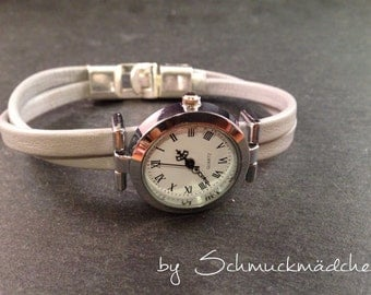 Watch leather silver grey