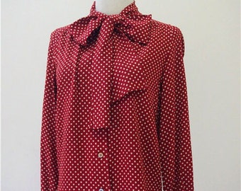 SALE Unused NOS Dotted Red Silk shirt/Blouse with bow/rosette, pure silk/100% silk