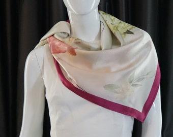 100% Silk Charmeuse Floral Scarf
