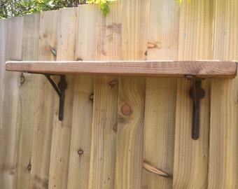 Gallow Style Cast iron wall shelf brackets antique iron thick solid wood shelf