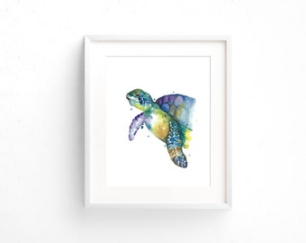 Framed Turtle Watercolour Print