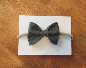 Charcoal felt bow