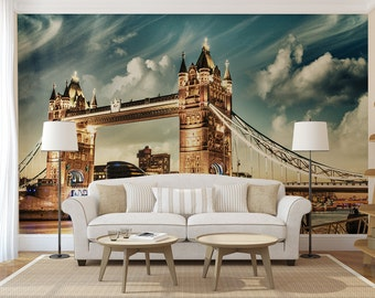 London Evening MURAL, self adhesive peel and stick 3d wall mural, wallpaper, wall sticker