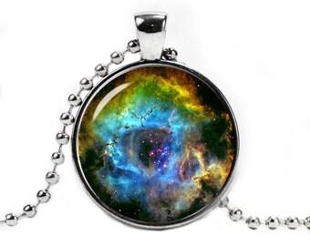 Rosette Nebula Necklace Pendant Space Necklace Nebula Jewelry Galaxy necklace
