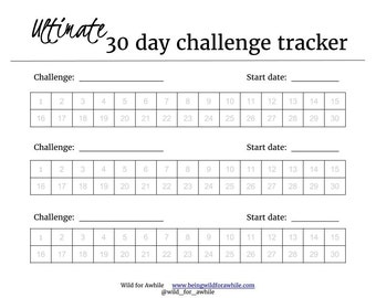 Ultimate 30 Day Challenge Tracker | Goal Tracker | Digital Print