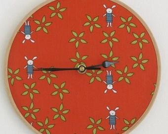 Red Bunny Wall Clock