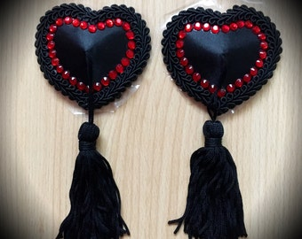 Burlesque Black Heart Pasties, Rhinestone Nipple Tassels Queen of Hearts Festival Rave EDC Clubwear