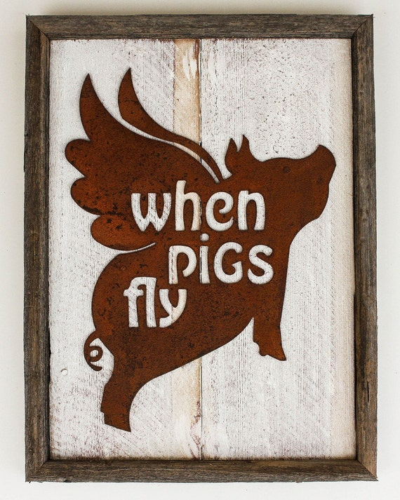 Rustic home decor flying pig when pigs fly for Pig decorations for home