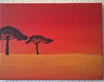 Savanna Sunset. Hand painted with acrylic on canvas.