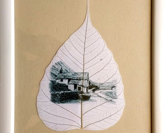 printed landscape on dry leaf