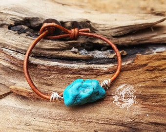 Turquoise Stone Wire Wrapped Leather Bracelet