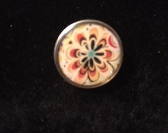 Painted Snap with a Flower - Fits all snap jewelry - 20mm
