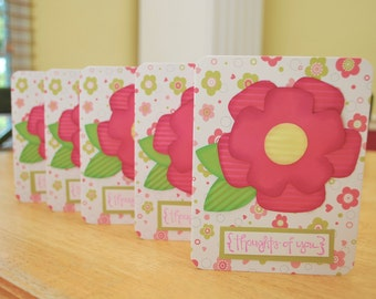 Note Card Set - Set of 5 Thinking of You Cards - Blank Inside