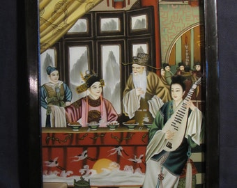 Vintage & Rare Chinese Reverse Glass Painting - Royal Banquet