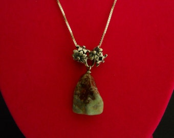 Handmade Tumbled and Polished Stone Pendant set off by Sterling Silver Necklace