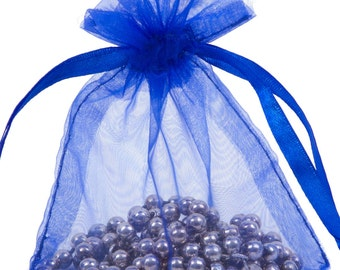 100 Royal Blue Organza Gift Pouch Wedding Favour Bag Jewellery Pouch- 6 Sizes
