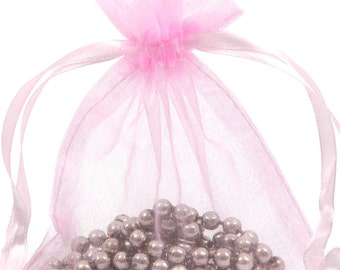 100 Pink Organza Gift Pouch Wedding Favour Bag Jewellery Pouch- 6 Sizes