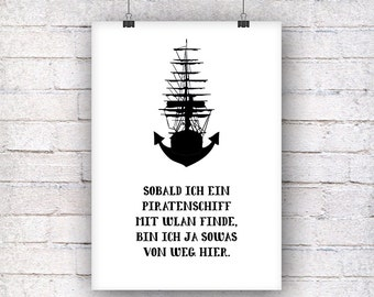 Pirate ship anchor gift family art print, fine art print