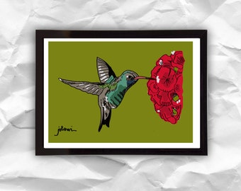 Print Humming Bird, digital illustration