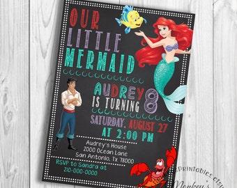 Princess Ariel Birthday Party, Little Mermaid Birthday Party Invitation,  Little Mermaid Party Printable Birthday Party Invitation