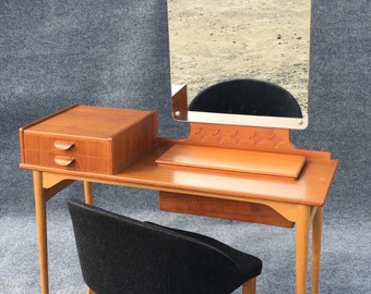 Vintage Danish Modern Teak Vanity and Chair