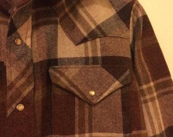 Vintage Western Shirt Wool Long Sleeve Mens