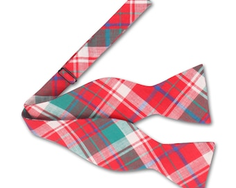 Red and Green Check Bow tie. Plaid Bow tie. Mens Bow tie.