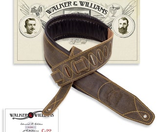 Walker & Williams Distressed Dark Brown Double Padded Premium Leather Guitar Strap C-22-DB