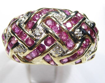 Vintage 14k yellow gold ring with Ruby and Diamond, size 9.25