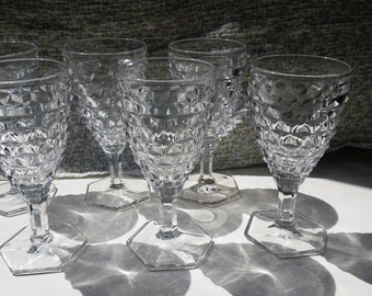 Lot of 6 Vintage Fostoria American Water Goblets