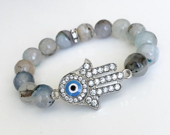 Light Blue Agate Hamsa Protection Bracelet, Energy Bracelet, Evil Eye Bracelet, Healthy Pregnancy, Baby Blues, Stability
